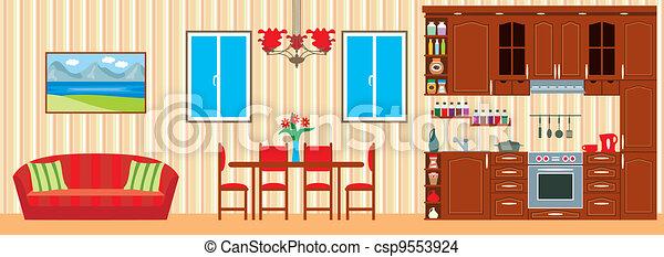 Kitchen furniture. Interior - csp9553924