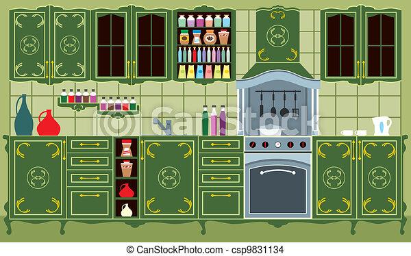 Kitchen furniture. Interior - csp9831134