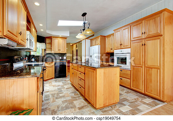 Kitchen Furniture Set With White Appliances View Of Kitchen With Tile Floor And Vaulted Ceiling Furnished With Cabinets Canstock
