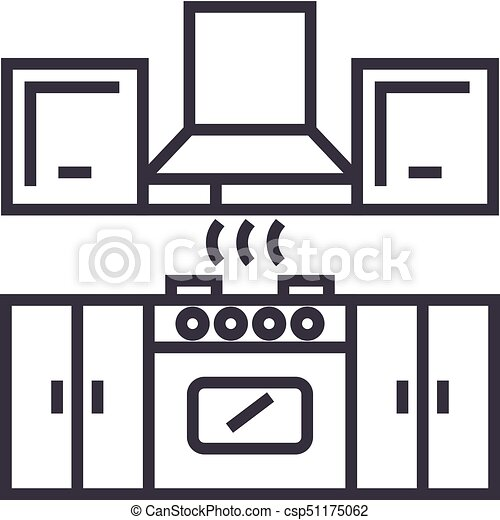 kitchen furniture vector line icon sign illustration on clip rh canstockphoto com furniture clipart for floor plans furniture clipart 1/4 scale