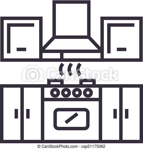 kitchen furniture vector line icon sign illustration on clip rh canstockphoto com clip art kitchen duty clip art kitchen stuff
