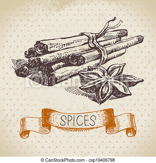Kitchen herbs and spices. Vintage background with hand drawn sketch cinnamon - csp19406798