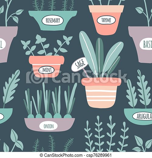 Kitchen herbs seamless pattern - csp76289961