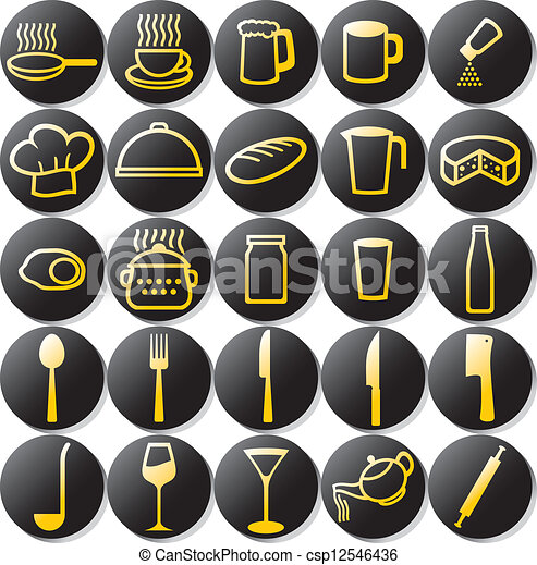 kitchen icons set - csp12546436