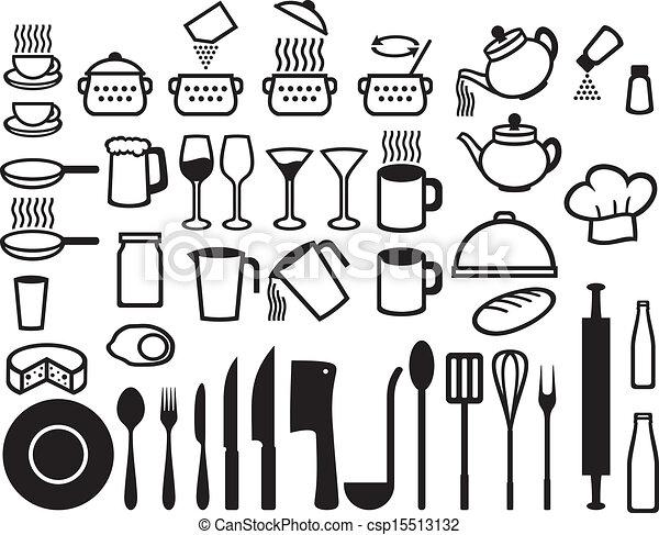 Kitchen Icons Set Set Of Icons On A Theme Kitchen