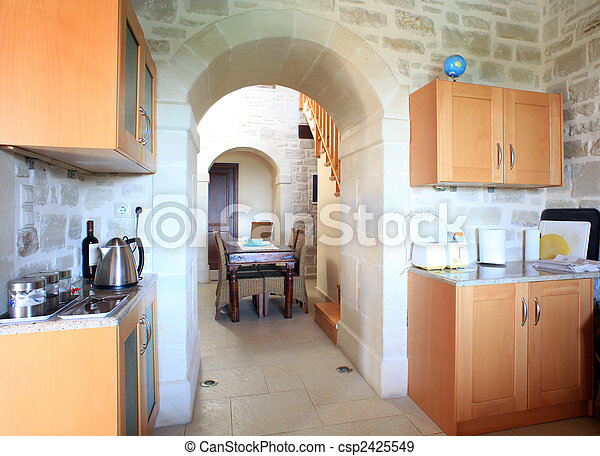 Kitchen In Greek Villa The Kitchen And Dining Room Of A Luxury Greek Villa On The Island Of Crete Used For Holiday Lets Canstock