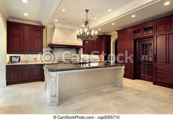 Kitchen in new construction home - csp3055710