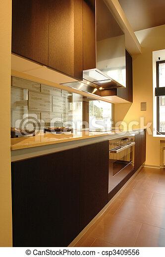 kitchen in perspective - csp3409556