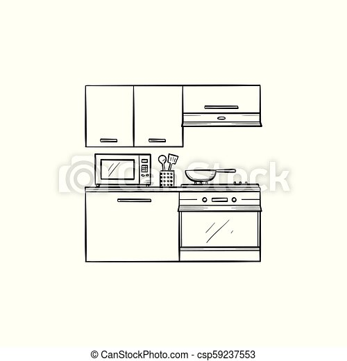 Kitchen Interior And Appliances Hand Drawn Outline Doodle Icon