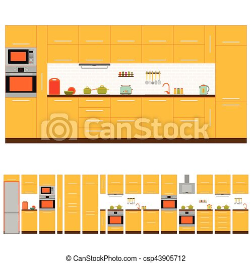 kitchen interior design set front view vector illustration rh canstockphoto com interior design clipart interior design clip art images