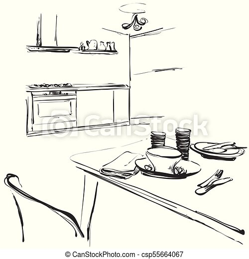 Kitchen Interior Drawing Vector Illustration Dinner Table Kitchen