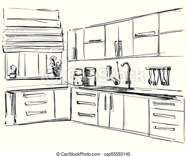 Kitchen Interior Drawing Vector Illustration Furniture Sketch