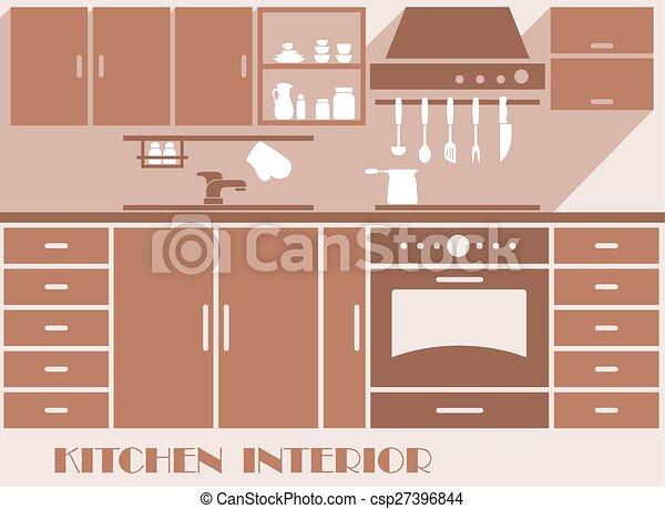 Kitchen interior flat design in brown colors - csp27396844