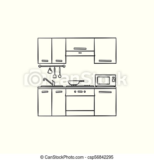 Kitchen Interior Hand Drawn Sketch Icon Kitchen Interior Hand Drawn