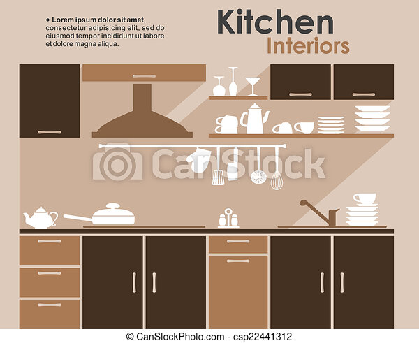 Kitchen Interior In Flat Infographic Style Kitchen Interiors Flat