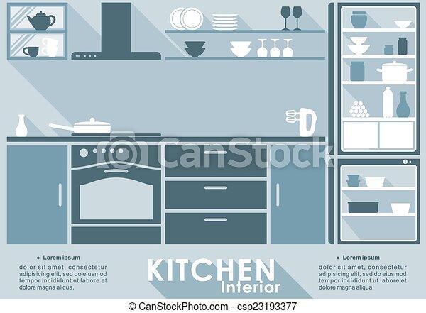 Kitchen interior in flat style - csp23193377