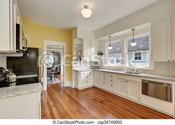 Kitchen Interior With White Cabinets Yellow Walls And Wood Floor Kitchen Interior With White Cabinets Stainless Steel Canstock