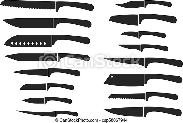 Kitchen knife set. Chef and butcher knives silhouette vector isolated icons