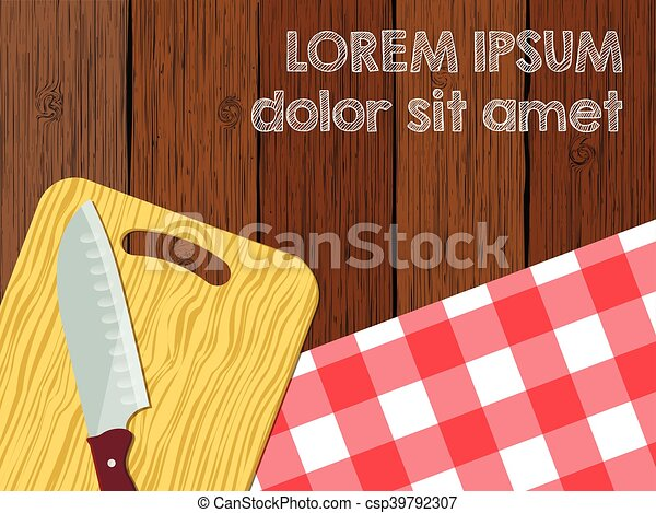 Kitchen logo blank, knife on cutting board the wooden table with tablecloth - csp39792307