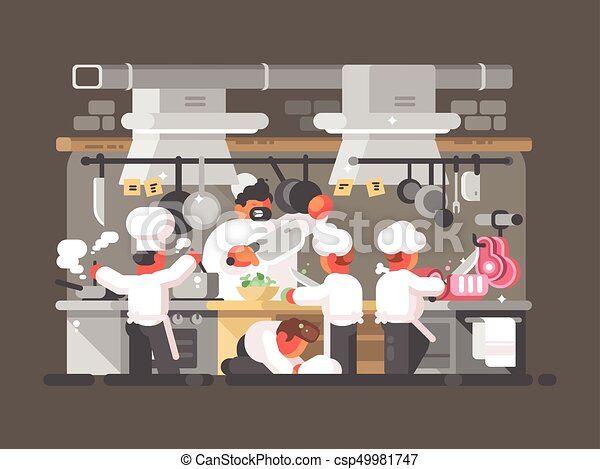 Kitchen Of Restaurant Group Of Chefs Cooks In Kitchen Of