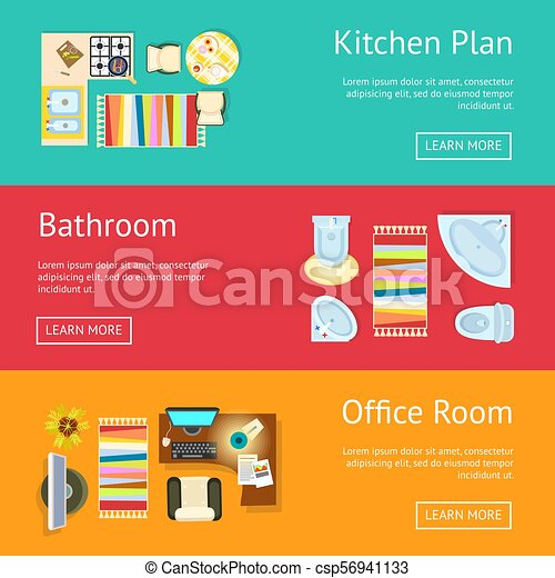 Kitchen Plan and Bathroom Vector Illustration - csp56941133