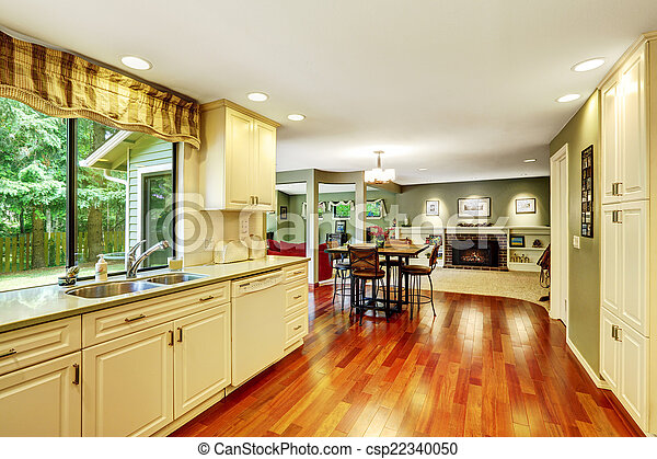 Kitchen room with dining area - csp22340050
