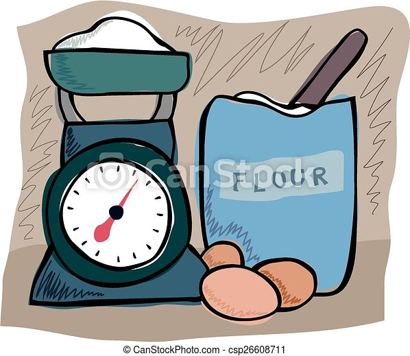 Kitchen Scales And Flour An Illustration Of Kitchen
