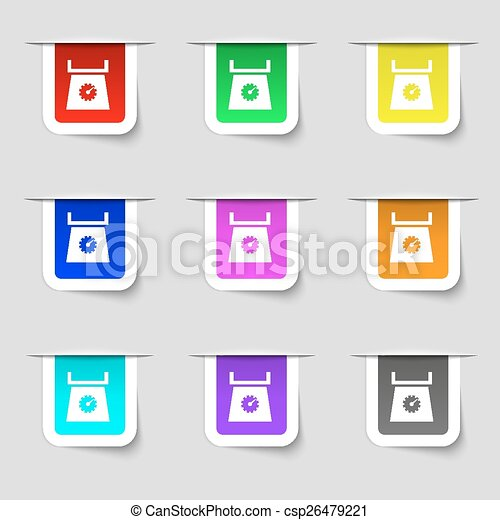 kitchen scales icon sign. Set of multicolored modern labels for your design. Vector - csp26479221