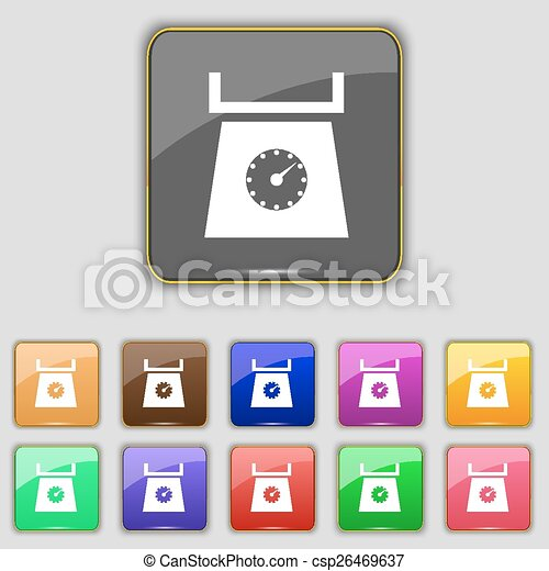 kitchen scales icon sign. Set with eleven colored buttons for your site. Vector - csp26469637