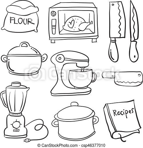 Kitchen Set Hand Draw Cartoon Doodles Vector Art