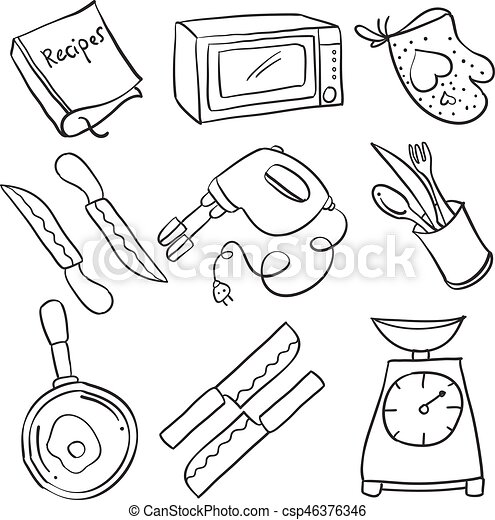 Kitchen Set Hand Draw Doodles Vector Illustration