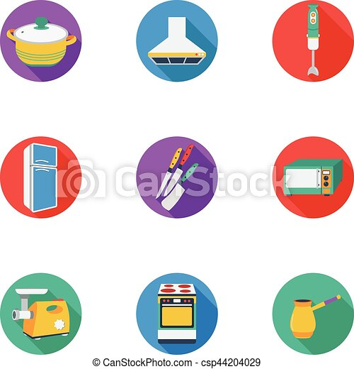 Kitchen Set Icons In Cartoon Style Big Collection Of Kitchen Vector