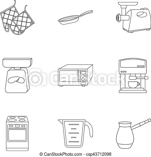Kitchen Set Icons In Outline Style Big Collection Of Kitchen Vector