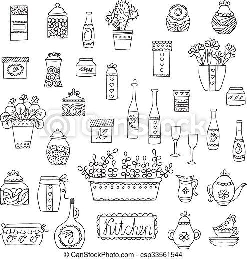 Kitchen Set In Vector Stylish Design Elements Of Kitchen