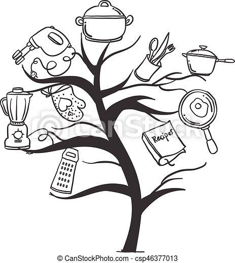 Kitchen Set Tree Hand Draw Style Vector Art