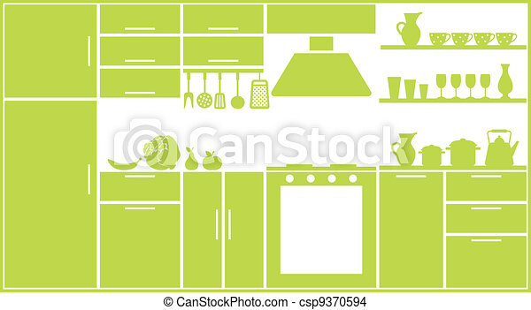 Kitchen silhouette - csp9370594