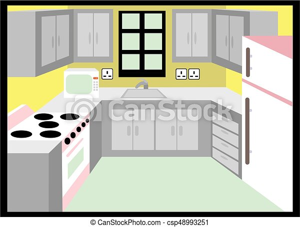 Kitchen Simple Design Including Microwave Fridge Stove Cabinet