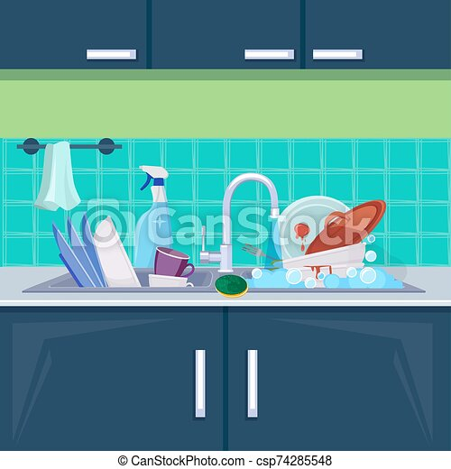 Kitchen Sink Dirty Dishes Background With Plates Bowls Mugs For Water Cleaning Vector Cartoon Illustration Sink With Pile Canstock