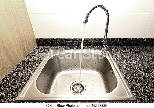 Kitchen Sink With Running Water From Faucet Canstock