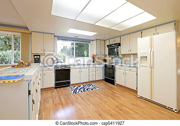 Kitchen Sixties Outdated White And Blue White And Blue Kitchen With Nice Hardwood Floor Canstock