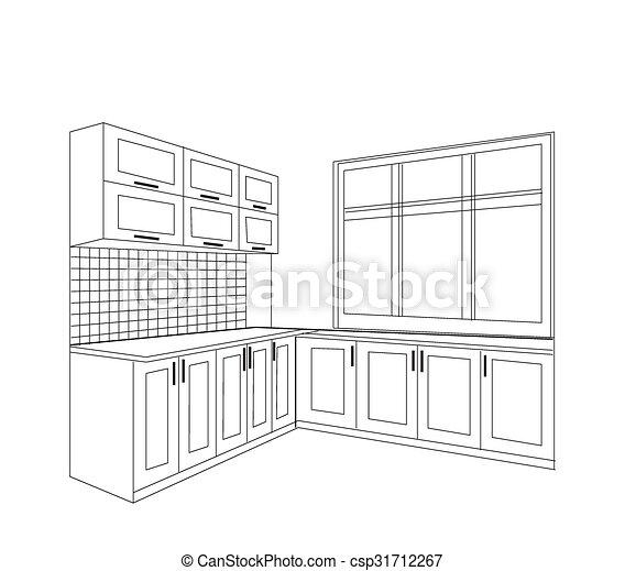 Kitchen sketch interior. - csp31712267