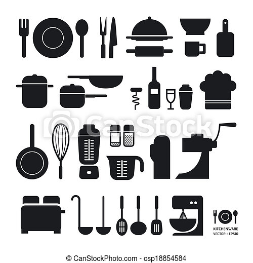 Kitchen tool icons collection / can be used for infographics / graphic or website layout vector/Horizontal - csp18854584