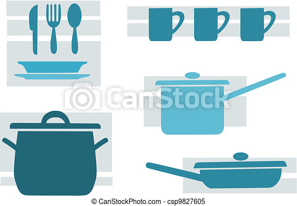 Kitchen tools, blue and beauty vector illustration. - csp9827605