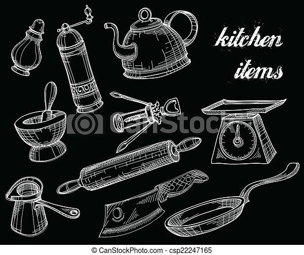 Kitchen Tools Drawings clip art vector of kitchen tools collection, white over black
