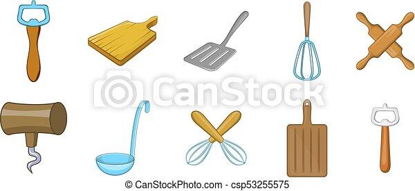 Kitchen Tools Icon Set Cartoon Style Kitchen Tools Icon Set