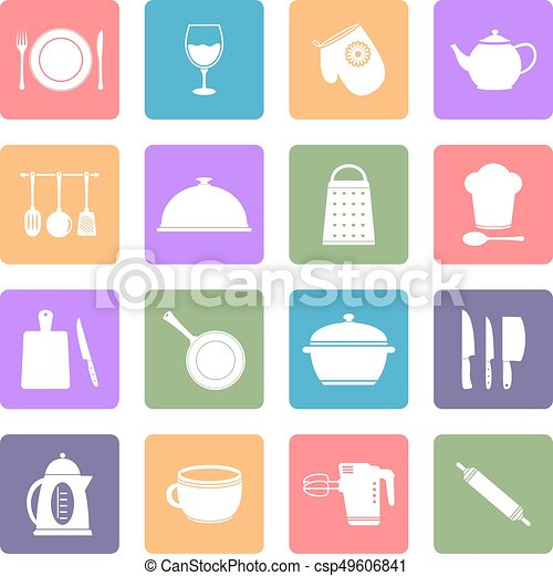 Kitchen utensil flat icons set - csp49606841