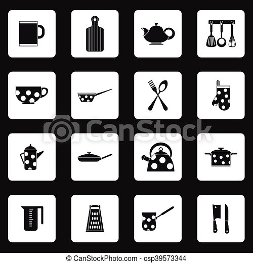 Kitchen utensil icons set, simple style - csp39573344