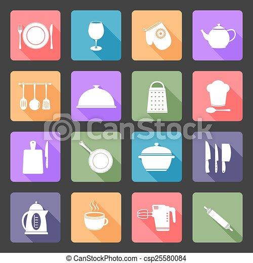 Kitchen utensils icons  - csp25580084
