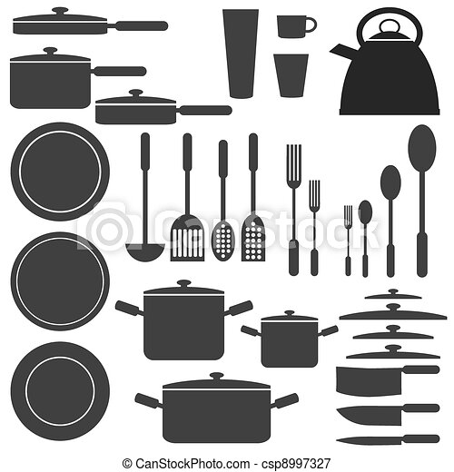 Kitchen utensils in white and black colours. - csp8997327