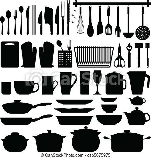 Kitchen Utensils Silhouette Vector - csp5675975